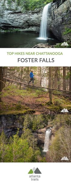 Foster Falls near Chattanooga - Atlanta Trails Hike to the stunning cascades of Foster Falls in South Cumberland State Park near Chattanooga, exploring the dramatic, plunge of this enormous waterfall. Tennessee Hiking, Tennessee Waterfalls, Chattanooga Tennessee, Tennessee Vacation, Tennessee Usa, Gatlinburg Tn, Camping Places, Places To Travel, Places To Go