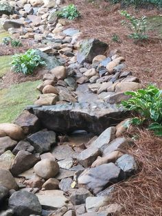 32 Ideas Backyard Water Feature Dry Creek Bed For 2019 - Alles über den Garten Dry Riverbed Landscaping, River Rock Landscaping, Landscaping With Rocks, Outdoor Landscaping, Front Yard Landscaping, Outdoor Gardens, Landscaping Ideas, Hillside Landscaping, Inexpensive Landscaping