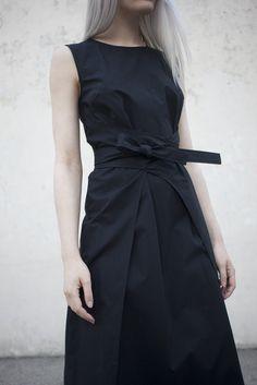 Caron Callahan Harris Dress in Black Poplin | Oroboro | Brooklyn, New York
