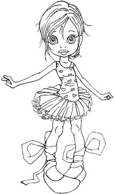 She will be really cute colored with alcohol ink markers. Cute Coloring Pages, Coloring Pages For Girls, Coloring Books, Colorful Drawings, Colorful Pictures, Creation Art, Tampons, Copics, Digital Stamps