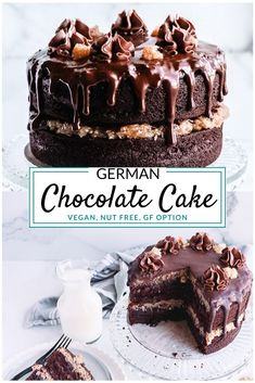 Vegan German Chocolate Cake — This decadent cake recipe is the most amazing Gluten free & allergy friendly German Chocolate recipe around! Moist chocolate cake layered with coconut frosting and topped with a rich chocolate ganache. Gluten Free Chocolate Cake, Chocolate Desserts, Vegan Chocolate Ganache, Chocolate Ganache Cake, Decadent Chocolate Cake, Chocolate Cookie Cakes, Moist Chocolate Cakes, Gluten Free German Chocolate Cake Recipe, Gluten Free Vegan Cake