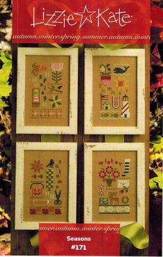 Lizzie Kate Seasons - Cross Stitch Pattern. Models stitched on 32 Ct. Amber linen with Weeks Dye Works floss (or DMC 369, 3687, 3853, 221, 3852, 930, 3865, 829,