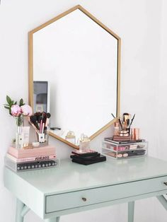 cb529326b5ef Minimalist Vanity and Geometric Wall Mirror Dressing Table Decor