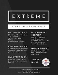 Extreme Stretch Denim Knit #SouthernBelleFabrics #ExtremeStretchDenim #fabric