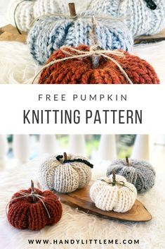 How To Knit A Pumpkin {Easy And Quick} : Free pumpkin knitting pattern that is really easy and quick to make. A step by step photo tutorial and video are included. Get the free knitting pattern and fill your home with pumpkins this fall! Fall Knitting Patterns, Easy Knitting Projects, Yarn Projects, Knitting For Beginners, Free Knitting, Knitting Ideas, Stitch Patterns, Modern Crochet Patterns, Creative Knitting