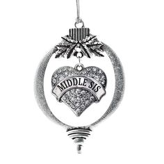 Middle Sis Pave Heart Holiday Ornament