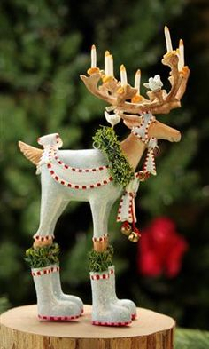 """Dasher Ornament"" Krinkles Reindeer Ornaments by Patience Brewster at Fiddlesticks Reindeer Ornaments, Christmas Tree Ornaments, Christmas Decorations, Reindeer Decorations, Holiday Decorating, Whimsical Christmas, Merry Christmas To All, Paper Mache Crafts, Shabby"