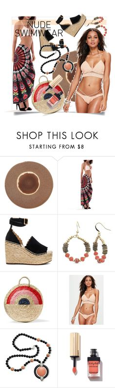 """Bare It All: Nude Swimwear"" by kari-c ❤ liked on Polyvore featuring WithChic, Chloé, Kim Rogers, Vanessa Seward, Missguided, Kenneth Jay Lane and nudeswimwear"