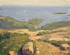 Otter Cove from Cadillac Mountain by Richard Oversmith Oil ~ 11 x 14