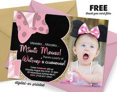 Minnie Birthday Invitation, first birthday party invitation, Minnie birthday, party invitation printable