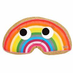 Colourful rainbow cushion for kid's bedroom by Kip & Co