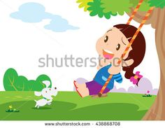 Swinging kid. Happy smiling girl with flying in the wind hair on a swing.