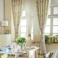 Country Green Botanical  Curtains   #curtains #decor #homedecor #homeinterior #green Living Room Drapes, Green Curtains, Elegant Living Room, Burlap, Country, Manager, Home Decor, Home Interiors, Ideas