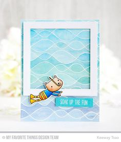 Mft august new product launch whimsical cards and favorite things handmade card from keeway tsao featuring soak up the fun stamp set and die namics whimsical waves background stamp pierced square frames and blueprints malvernweather Image collections