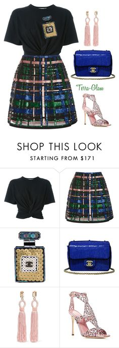 """""""Sequin Sparkling"""" by terra-glam ❤ liked on Polyvore featuring T By Alexander Wang, Elie Saab, Chanel, Oscar de la Renta and Sergio Rossi"""