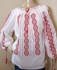 Hand stitched Romanian ethnic top . Peasant Blouse, Silk Thread, Hand Stitching, Hand Sewing, Ethnic, Blouses, Hands, Pure Products, Popular