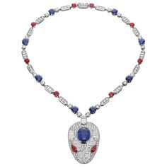 A white gold, sapphire and ruby Serpenti pendant displays a geometric makeover of one of Bulgari's most iconic symbols