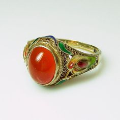 Vintage Chinese Carnelian & Enamel Cloisonne Flower Filigree Silver Ring