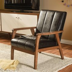 Baxton Studio Nikko Scandinavian Dark Brown Faux Leather Upholstered Accent Chair-28862-6745-HD - The Home Depot