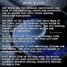 Remember that your Moon Water will also take on the energies of the astrological sign She is in when making your water. This will add a powerful boost to your spellwork, for example, using Cancer Moon Water for spells involving home and family. Full Moon Spells, Full Moon Ritual, Wiccan Spells, Magic Spells, Green Witchcraft, Blue Moon Rituals, Water Spells, Water Witch, Moon Witch