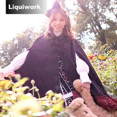 Black Burgundy Lolita Princess Fashion Clothing Hooded Cloak Cape Women SKU-11203084