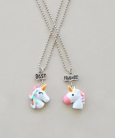 Whitney Elizabeth Pink & White Unicorn best Friends Pendant Necklace | zulily