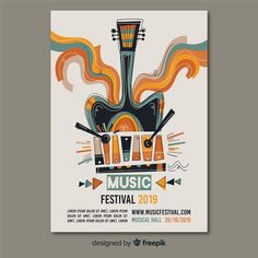 Póster de festival de música dibujado a mano Event Poster Design, Graphic Design Posters, Flyer Design, Grafik Design, Magazine Design, How To Do Yoga, Digital Illustration, Illustrations Posters, Typography