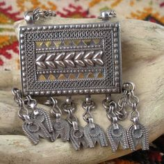 Vintage Silver Prayer Box from Oman with Hamsa.  Silver with gold accents, it is stamped OMAN 925