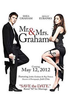 Affiche du film Mr et Mrs Smith avec tête d'inconnus