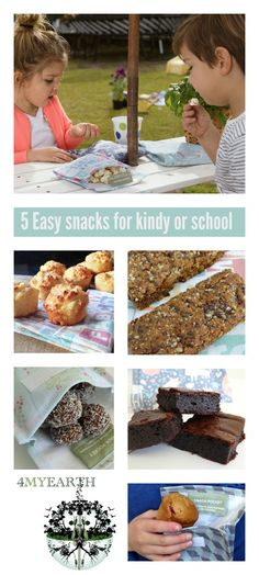 Easy snack ideas with recipes for your lunch boxes. Pineapple & coconut muffins  Homemade 3 step muesli bars (gluten free) Mixed 3 nut choc balls (gluten free) Healthy Fudgy Brownies Click here- http://4myearth.com.au/products/?cat=1