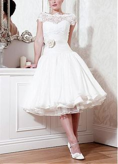 Short Over Lace & Organza Satin & Satin & Stabilized Tricot A-line Bateau Neck Tea-length Wedding Dress