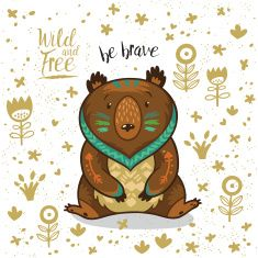 Cute illustration indian bear with text be brave vector art illustration