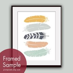 Stacked Tribal Feathers  Art Print Featured in by pixiepixels