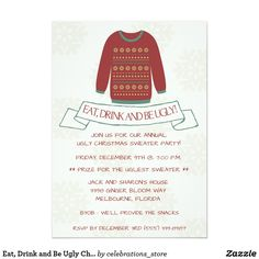 Eat, Drink and Be Ugly Christmas Sweater Party Card