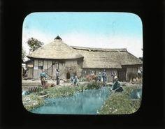 Farmer's house :: Japanese Lantern Slides (Dominican University) 1880