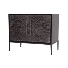 """35.75""""Wx 22""""D x 30""""H  Available in all Ironies wood nishes  Doors available in bone, buffalo horn (shown) parchment, shagreen and shell  Base and door handles available in all Ironies brass nishes"""