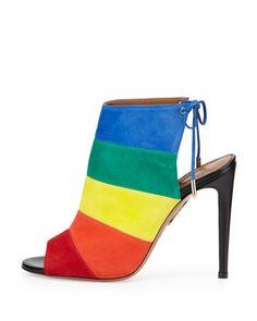 S0C12 Aquazzura Rainbow Striped Suede Sandal, Multi