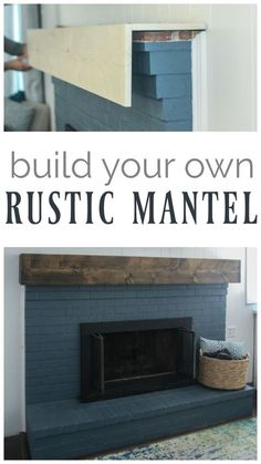 DIY rustic fireplace mantel: the cure for a boring fireplace Learn how to build a simple DIY fireplace mantel. This rustic fireplace mantel has the charm of reclaimed wood but is inexpensive and easy to make. Basement Remodeling, Rustic Diy, Brick Fireplace Makeover, Rustic Furniture, Diy Fireplace, Rustic Fireplaces, New Homes, Rustic Living Room, Rustic Fireplace Mantels