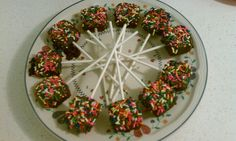 Chocolate covered brownie bites...with Sprinkles, of course. :)