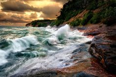 The fury of Lake Superior was seen recently as a gale sent waves crashing against Miner's Beach in Pictured Rocks National Lakeshore.  Pictured Rocks National Seashore is named for the towering, multicolored sandstone cliffs that line this Michigan shore. These cliffs soar some 200 feet (60 meters) above the lake.  - Brett Israel,