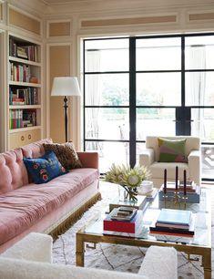 decoration home decor Sofa Design, Pink Velvet Sofa, Pink Sofa, Vintage Settee, Step Inside, Mid Century Furniture, Decor Interior Design, Interior Ideas, Decoration