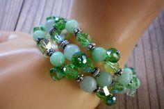 Green crystal & jade memory wire bracelet by OutsiderArtJewelry