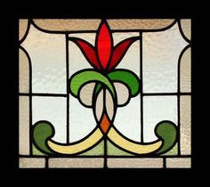 Stunning Art Nouveau Flower Stained Glass Window | eBay