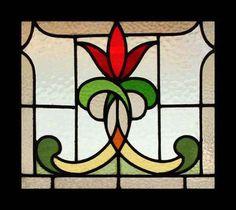 Stunning Art Nouveau Flower Stained Glass Window | eBay