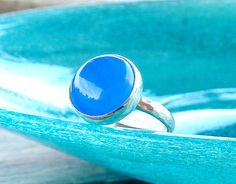 Blue Chalcedony Gemstone Ring  Blue Stone Ring Sterling