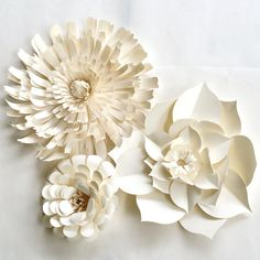 Paper Flower Wall Decor set of 3 paper flower paper by PaperFlora