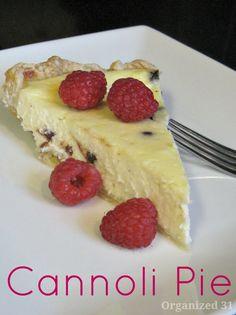 Cannoli Pie - a creamy custard pie - Organized 31