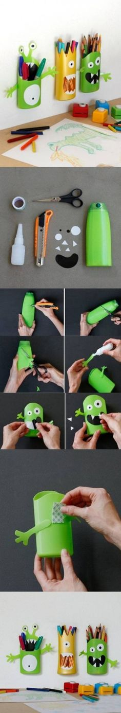 Clever DIY Shampoo Bottle Monster Pencil Holder for a child's desk or art and craft area.