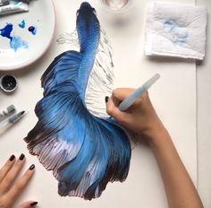 line drawing tattoo Watercolor Fish, Watercolor Pictures, Watercolor Paintings, Watercolour, Fish Drawings, Cute Drawings, Carpe Koi, Inspirational Artwork, Illustration
