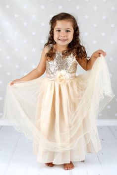 Sequins-Flower-girl-Dress-Gold-Party-Dress-White-Pageant-Dress-Birthday-Silver